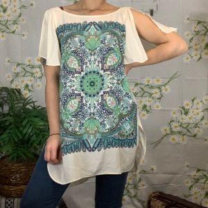 Anthropologie Maeve silk bandana blouse